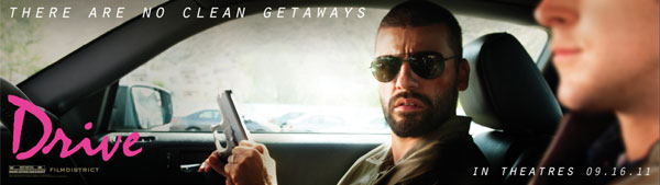 "Image of the movie ""Drive"" billboard with Oscar Isaac."