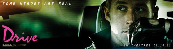 "Image of the movie ""Drive"" billboard with Ryan Gosling."